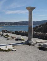 Kefalos a nedaleké pozůstatky baziliky St. Stefanos